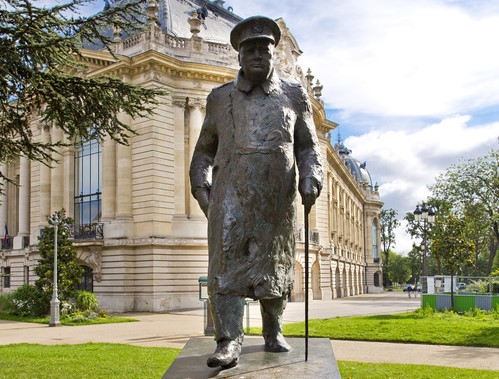 Statue of Winston Churchill outside the Petit Palais near the Seine River, Paris, France