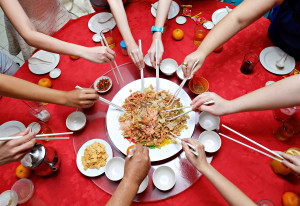 famous Chinese new year dish yu sheng or yee sang Prosperity Toss best seller all year round.